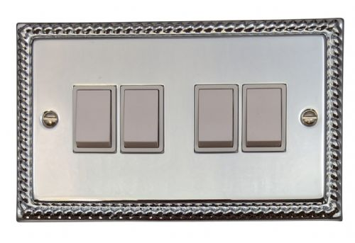 G&H MC4W Monarch Roped Polished Chrome 4 Gang 1 or 2 Way Rocker Light Switch